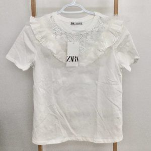 Zara White T-Shirt with Lace and Ruffles
